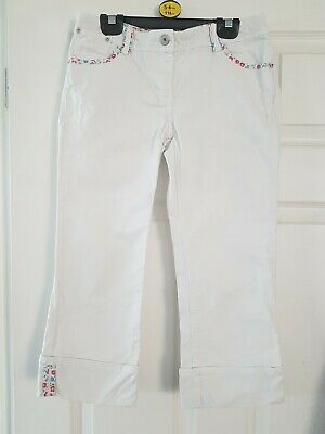 Mini Boden Girls Cropped White Denim Trousers Shorts Aged 12 Years