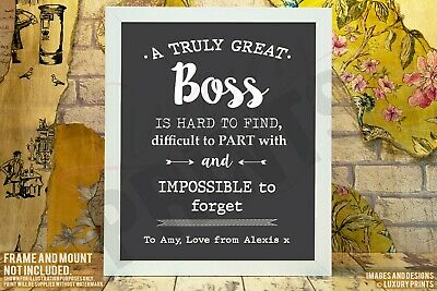Personalised Truly Great Boss Thank You Picture Print Gift Leaving Present