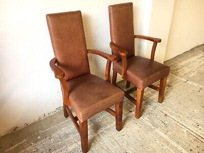 Pair of High Back Leather Dining Chairs (Bar / Pub / Cafe / Restaurant Chairs)