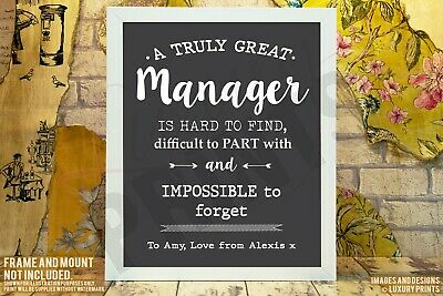 Personalised Great Manager Thank You Picture Print Gift Leaving Present