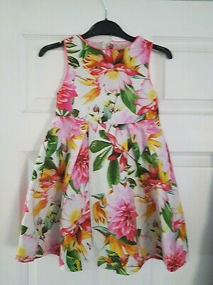 Next Girls Party Dress Summer Tropical Print Size 4 Years