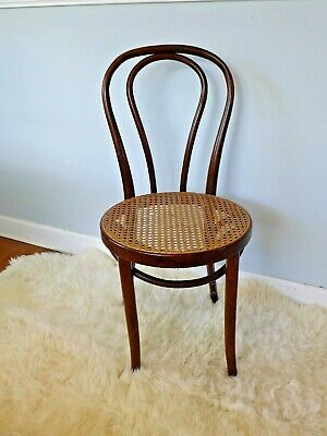 Vintage Thonet Style Bentwood Cafe Chair with Cane Seat Romania Walnut Bistro
