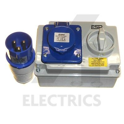 16A Interlocked Switched Socket and 16 Amp Plug 3 Pin 240v Blue Wall Mount IP44