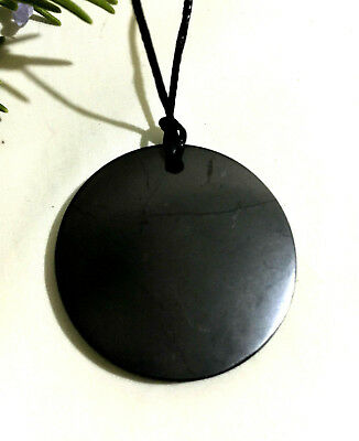 Shungite LARGE Polished Pendant Necklace Circle 5cm EMF KARELIAN Guaranteed Real