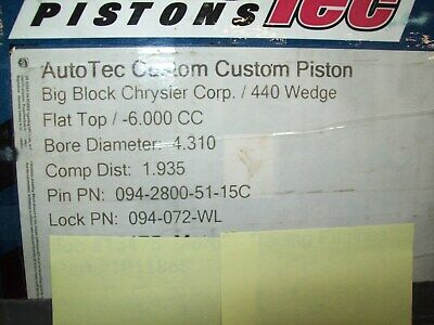 440 Wedge Chrysler pistons / new / flat top