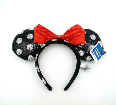 Disney Parks Red Bow Mickey Party Spots Black Sequins Minnie Mouse Ears Headband