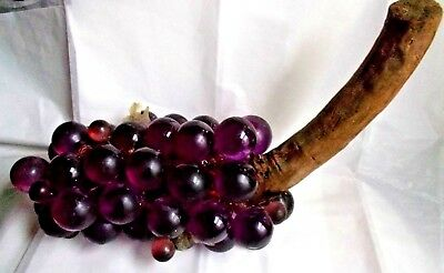 "Mid Century Huge Lucite Acrylic purple Grapes on Driftwood, 17"" L 10""H"