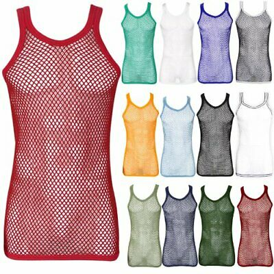MENS 100% COTTON STRING MESH VEST FISH NET FITTED STRING TOP SIZE S to 2XL UK