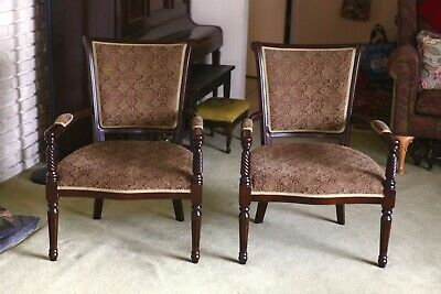 Upholstered Henredon Mahogany Dining Armchair Pair (2), MINT! XLNT!