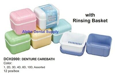 Plasdent Dental Denture Care Bath Boxes w/ Rising Basket Assorted Colors Box/12