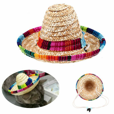Stylish Pet Cat Puppy Dog Mexican Sombrero Adjustable Buckle Straw Hat Decor