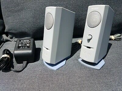 Vintage Sony VAIO PCVA-SP1 Computer/Ipod/Phone Speakers with AC adapter WORKING