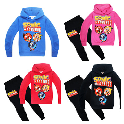 New Sonic The Hedgehog Boys Girls Cosplay Casual Hoodie Sweatshirt+Trousers Sets