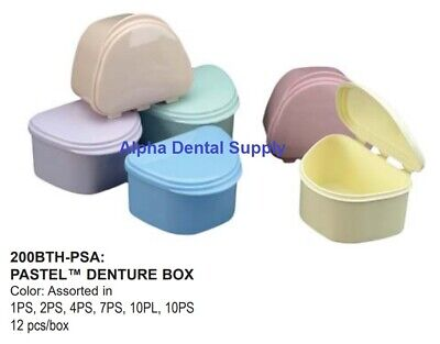 Plasdent Dental Denture Boxes Plastic Pastel Colors Assorted Box/12 #200BTH-PSA