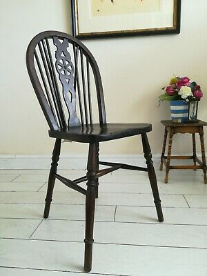 Antique Wheelback Chair Dark wood Farmhouse County