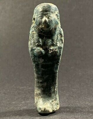 Rare Authentic Small Egyptian Glazed Faience Ushabti-Statue