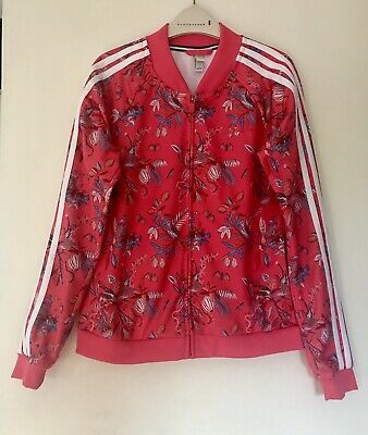 New Adidas Neo Girls Zip Track Jacket Flower Print Teenager 179/ 92A