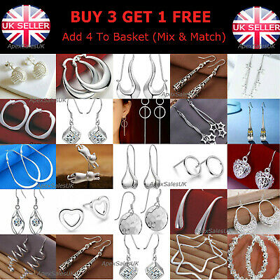 925 Sterling Silver Plated Crystal Drop Dangle Silver Hoop Stud Pearl Earrings