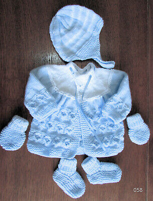 baby blue & white matinee set new 0 to 3 months hand knitted mits hat coat boots