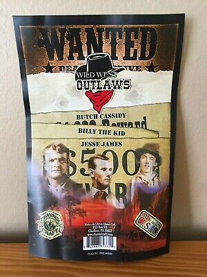 3 Wild West Outlaw Wanted Posters Butch Cassidy, Billy The KID, Jesse James