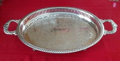 """Ornate Footed Silver Plated Serving Tray w/Handles * 20.5"""" x 11.5"""""""