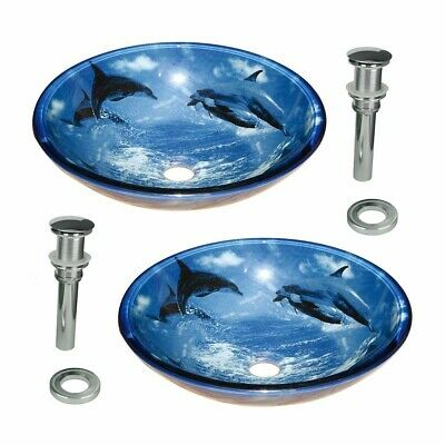 Tempered Glass Vessel Sinks with Drain, Dolphin Set of 2 | Renovator's Supply