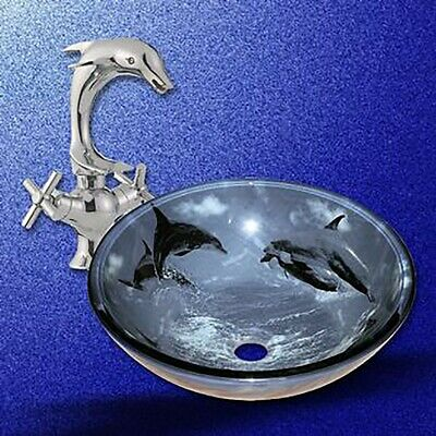 Bathroom Vessel Sink Blue Tempered Glass Dolphin Design and Faucet Combo