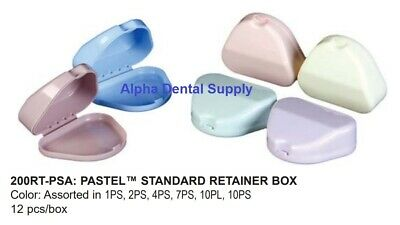 Plasdent Dental Orthodontic Standard Retainer Boxes Pastel Colors Assorted Bx/12