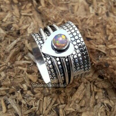 925 Sterling Silver Band Meditation Spinner Ring Natural Opal  All Size vi-679