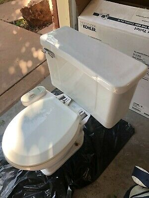 Vintage 1960 Crane Oxford White Toilet Bowl & Off White Toilet Tank & Tank Lid