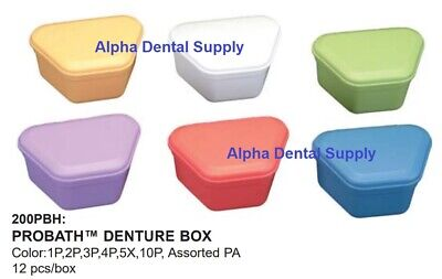 Plasdent Dental Probath Denture Boxes Plastic Assorted Colors Box/12 #200PBH-PA