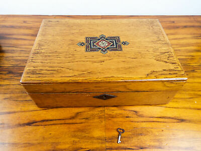 Antique 19th C Art Nouveau Wooden Oak Writing Slope Ladies Lap Desk Letters Box