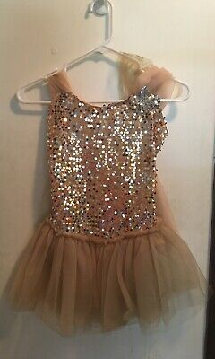 NEW Wolff Fording Dance Costume Brown Velvet Gold Sequin Girls sizes attchd tutu