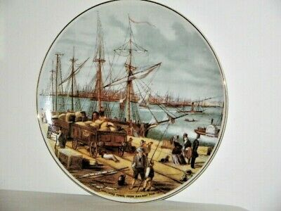 Sandridge Williamstown From Railway Pier Circa 1855 by S.T. Gill Gold Rim Plate