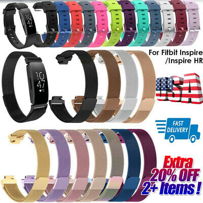 Silicone Stainless Steel Watch Band Wrist Strap For Fitbit Inspire/Inspire HR xi