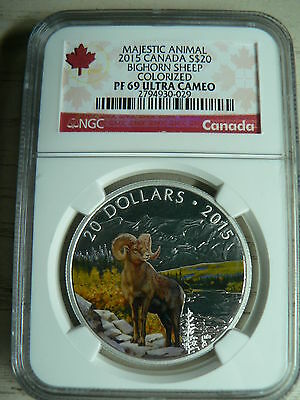 Canada 20 Dollars 2015 Bighorn Sheep Colorized Ngc Pf-69 Ultra Cameo Fine Silver