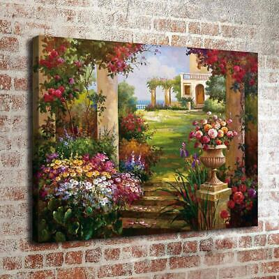 """Garden House View Home Decor Room HD Canvas Print Picture Wall Art  16""""x22"""""""