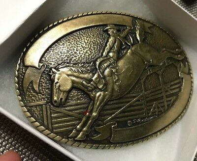 Vintage Tony Lama Collection Solid Brass Cowboy Western Belt Buckle
