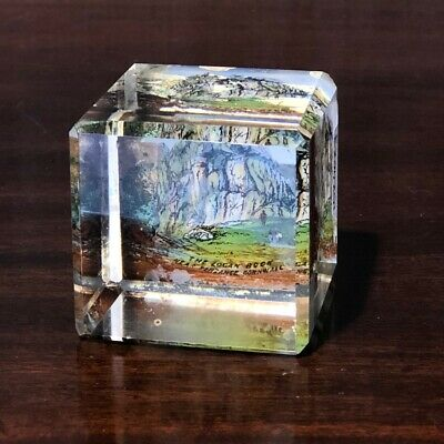 "Victorian square glass paperweight souvenir - ""THE LOGAN ROCK NEAR PENZANCE C..."