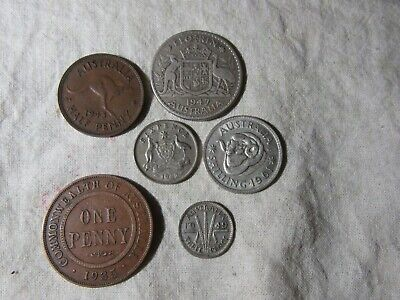 PRE DECIMAL COINS one of each   6 COINS    50% SILVER  & COPPER