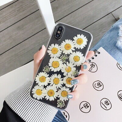 Real Dried Flower Epoxy Clear Shockproof Slim Rubber Soft Back Phone Case Cover