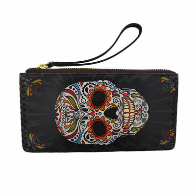 Colorful Day of the Dead Wristlet Wallet Coin Purse Pouch DOD Sugar Skull