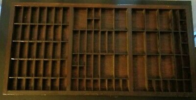 Antique Vtg  PRINTERS TYPESET DRAWER Wood Tray Shadow Box Divided