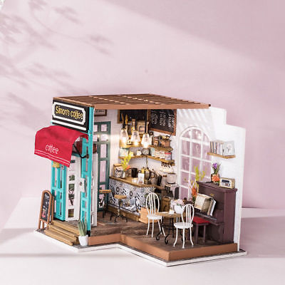 ROBOTIME DIY Dollhouse Kit Miniature Coffee Shop Room Kits with Furniture Gifts