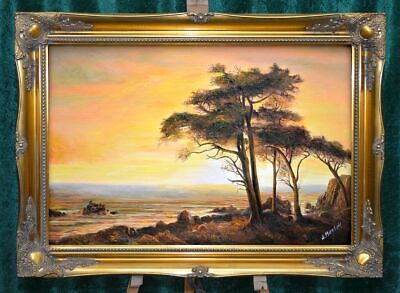 """Large """"Italian Evening Landscape"""" Rare Quality Oil Painting Linen Canvas Framed"""