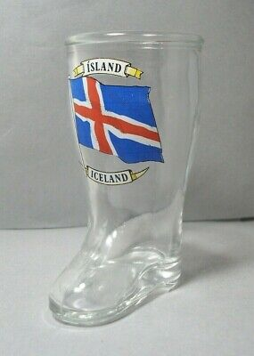Souvenir Boot Shaped Shotglass from Iceland Island featuring the National Flag