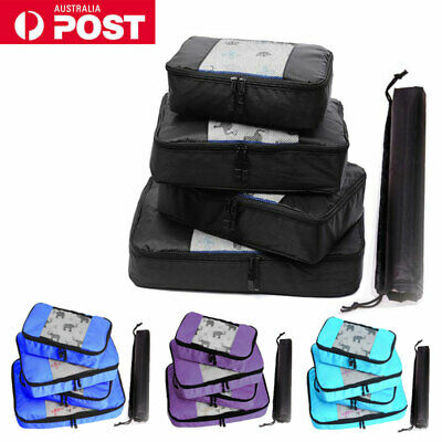5pcs Packing Cubes Pouch Travel Suitcase Luggage Organizer Clothes Storage Bags