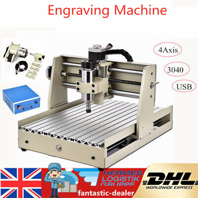 4 Axis 3040 CNC Router Engraver Wood Engraving Milling PCB Carving Machine USB