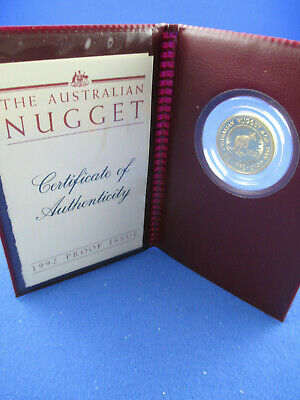 1992 $25 AUSTRALIAN NUGGET 1/4oz GOLD PROOF ISSUE COIN. A BEAUTY!!!