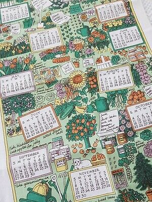 Vintage PAT ALBECK National Trust 1998 Working Garden Irish Linen Tea Towel